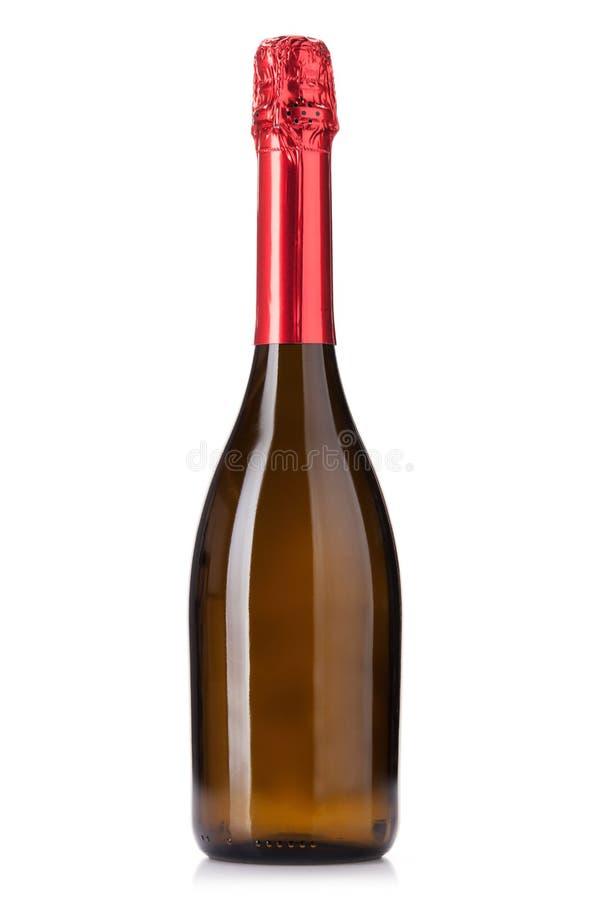 Champagne wine bottle. Isolated on white background stock images