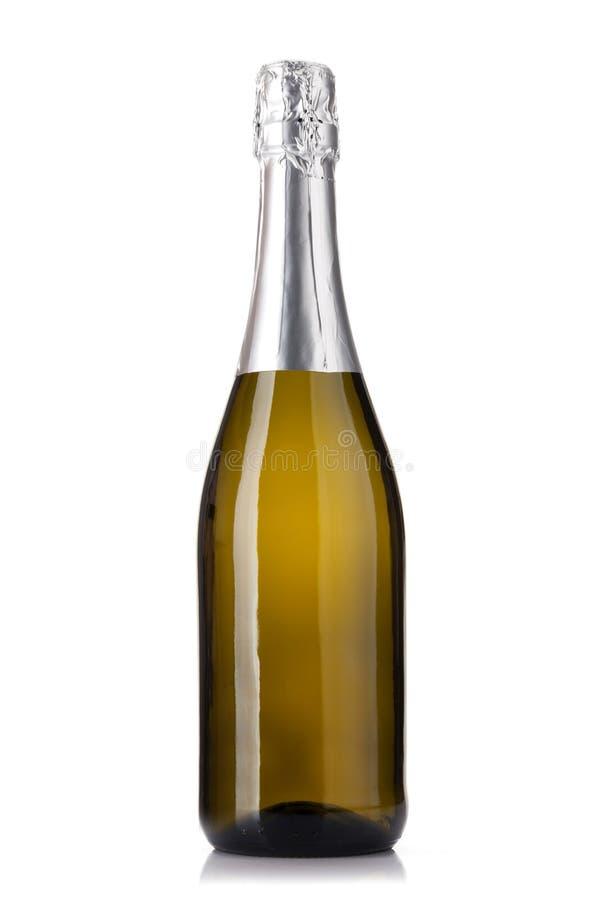 Champagne wine bottle. Isolated on white background stock photos