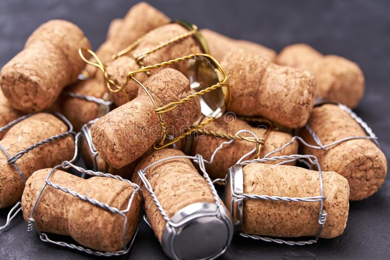 Champagne wine corks texture background close-up royalty free stock images