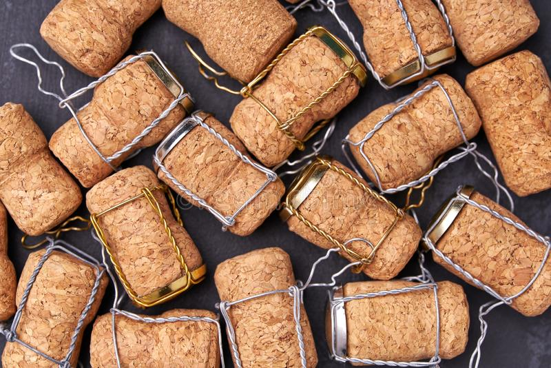 Champagne wine corks texture background ,top view stock photography