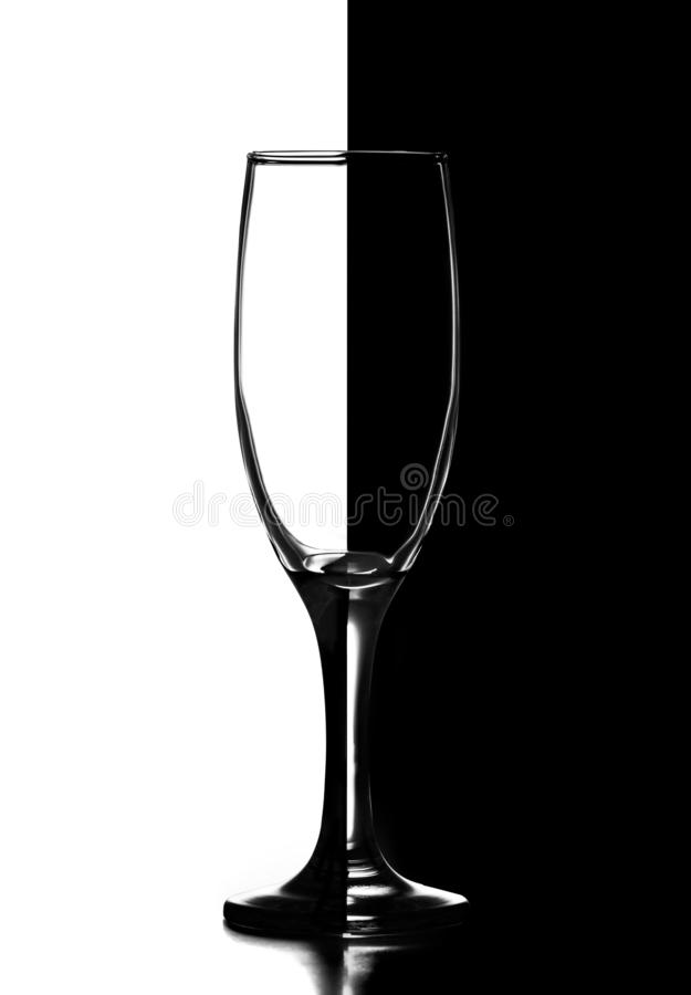 Champagne wine glass in domino style. Black and white image royalty free stock images