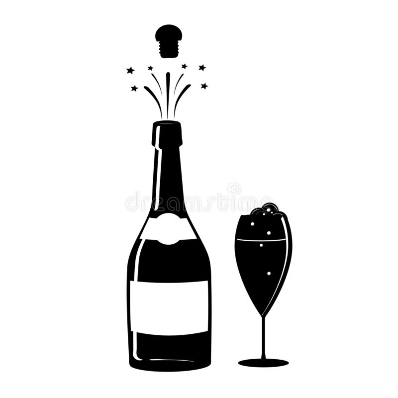 Champagne, or wine icon. Black silhouette of a champagne bottle and a glass. Iconography. Vector. Illustration vector illustration