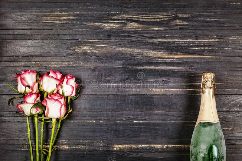 Champagne. Women`s Day, 8 March. Valentine`s Day. Birthday. Wedding. Anniversary. Rustic style. stock image