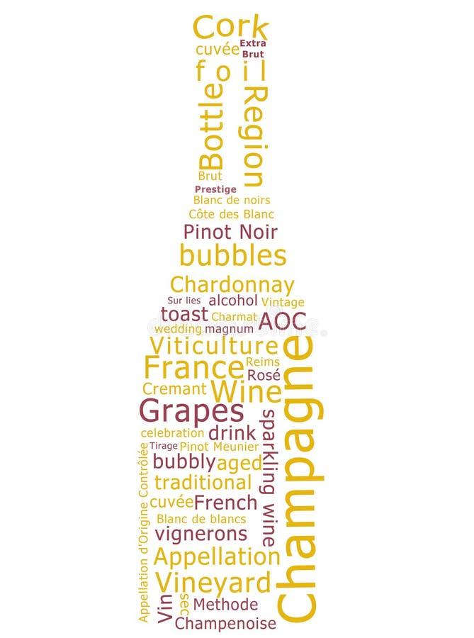 Champagne-Wort-Wolke vektor abbildung