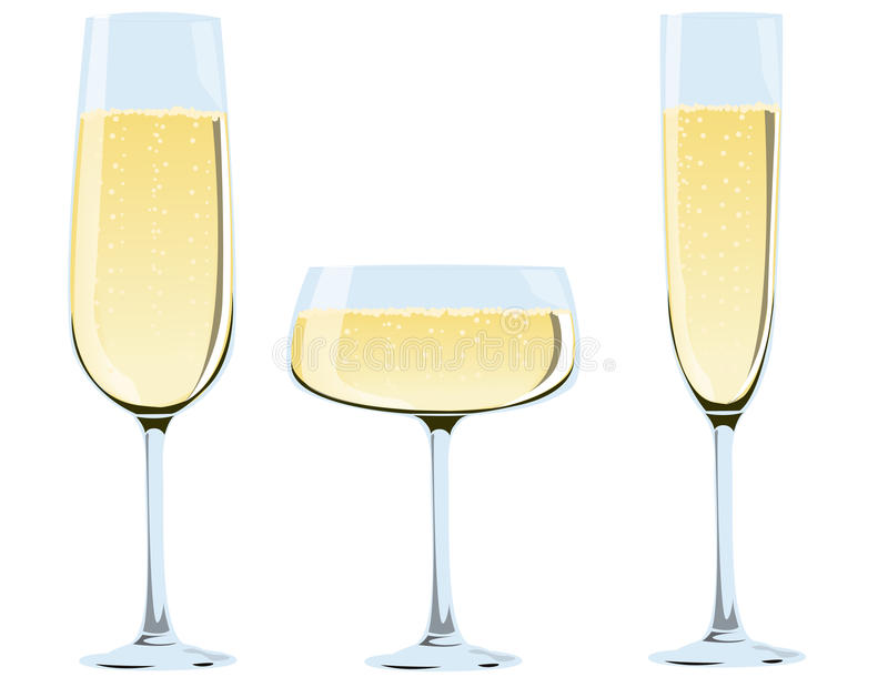 champagneexponeringsglas royaltyfri illustrationer