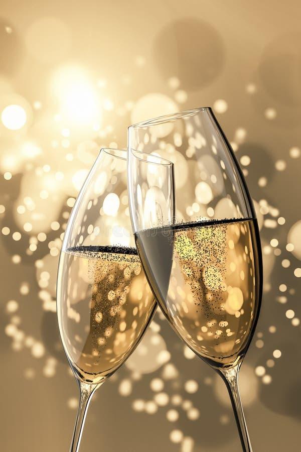 2 Champagneexponeringsglas royaltyfri illustrationer