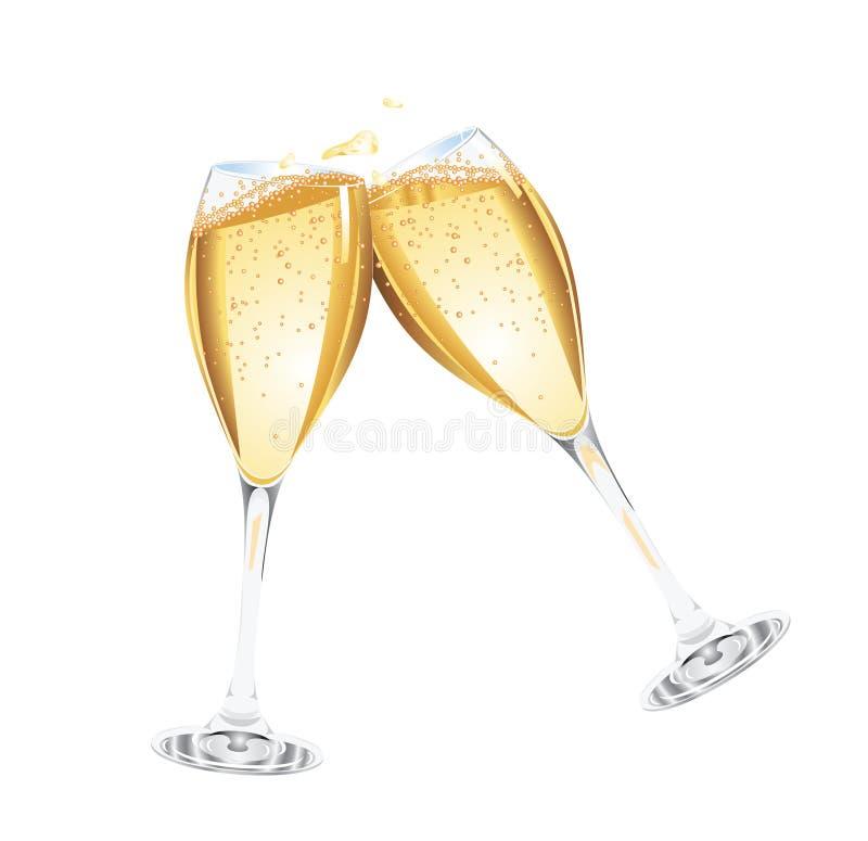 champagneexponeringsglas två stock illustrationer