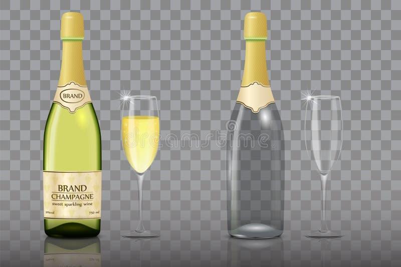Champagneflaska med uppsättningen för modell för vektor för vinexponeringsglas stock illustrationer