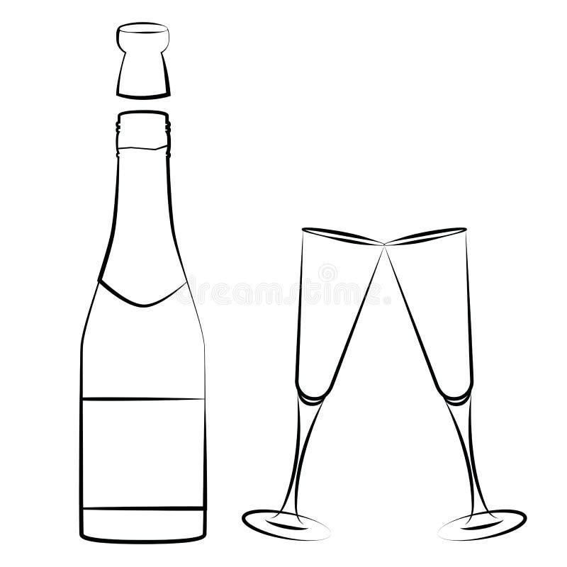 Champagneflaska och exponeringsglasöversiktsteckning som isoleras på vit bakgrund royaltyfri illustrationer