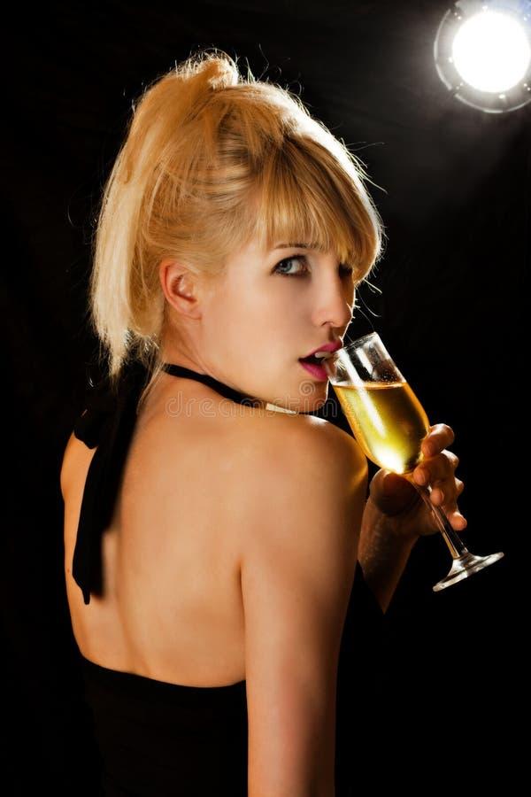 champagnekvinna royaltyfri bild