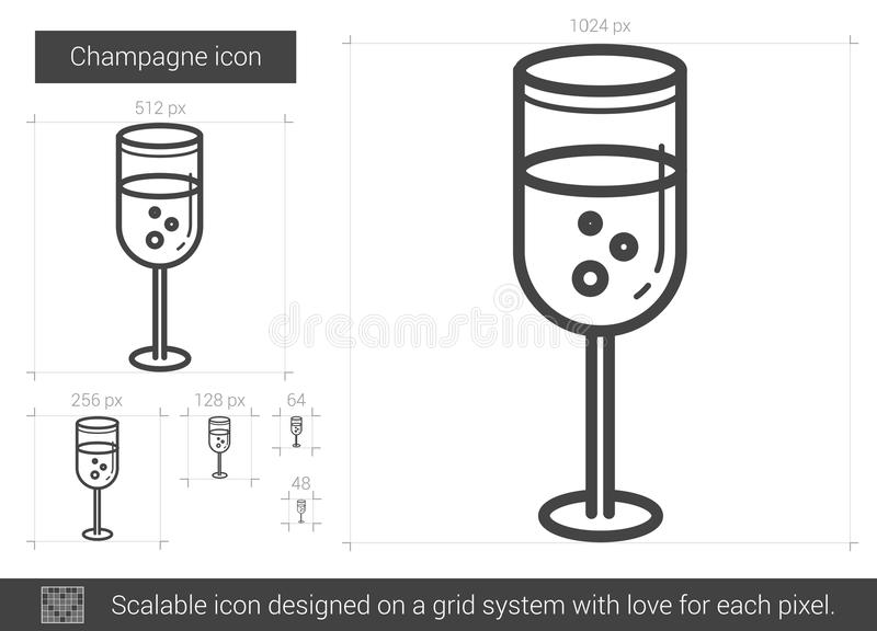 Champagnelinje symbol stock illustrationer
