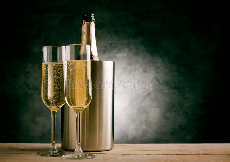 Champagner. Photo of christmas new year champagner glasses in front of rural background royalty free stock images