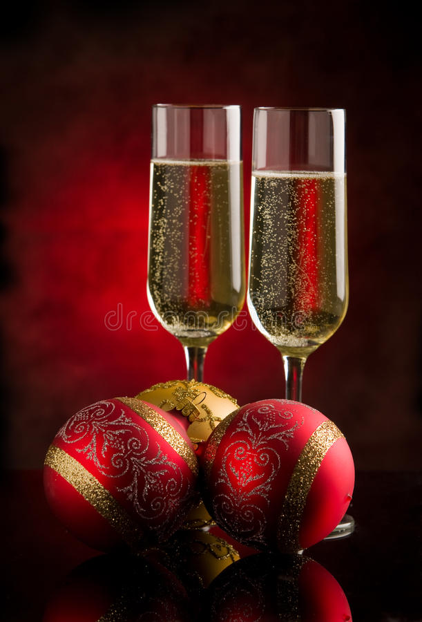 Champagner. Photo of christmas new year champagner glasses in front of rural background stock images