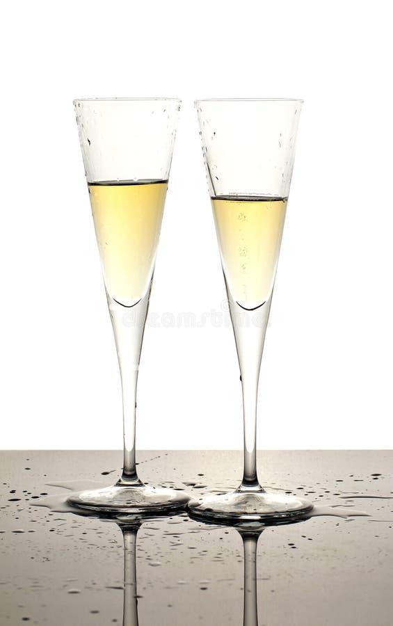 Champagnerglas mit zwei Luxus stockbild