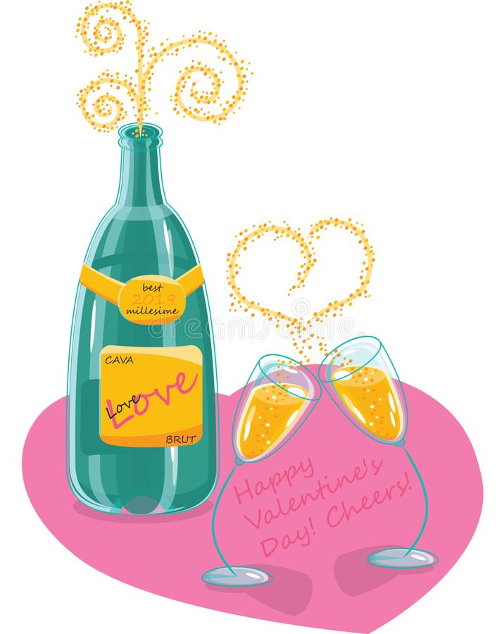Champagnevalentindag stock illustrationer