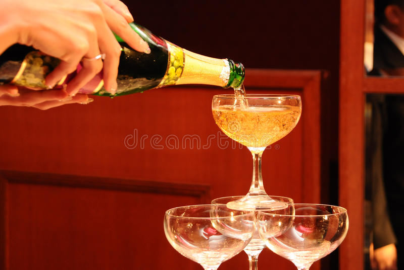 Champaign Pour Stock Photography