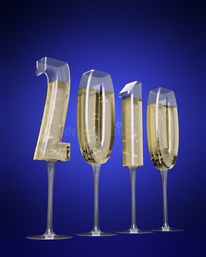 Champaigne Gläser geformt wie 2010 vektor abbildung