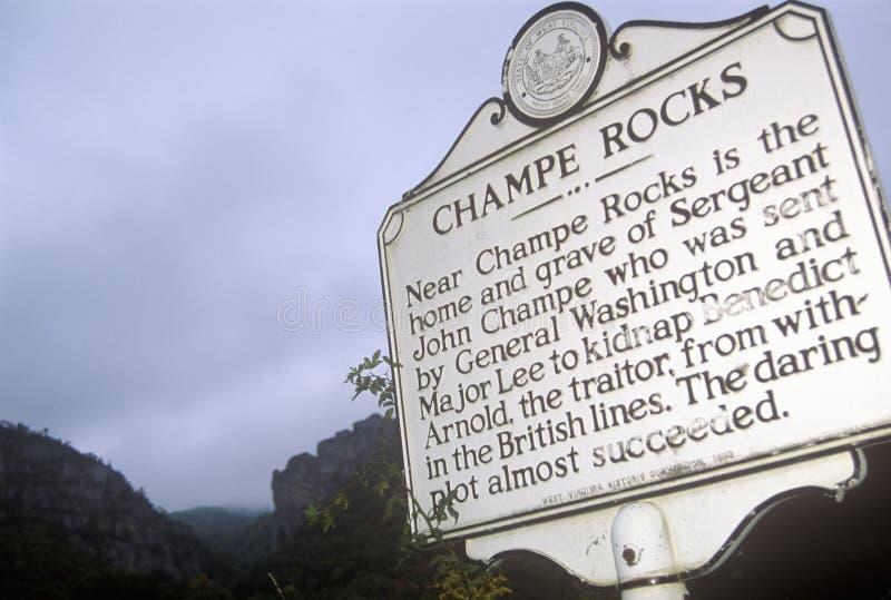 Champe vaggar, platsen av graven av sergeanten John Champe, Seneca Rocks, scenisk huvudvägrutt 33, Harmon, WV arkivbilder