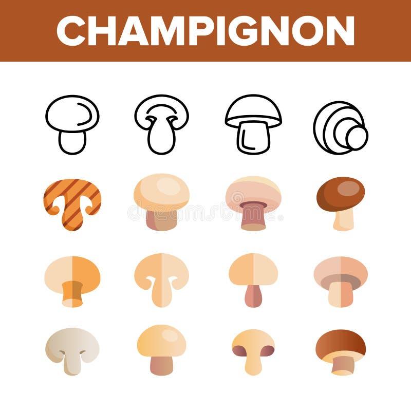 Champiñón, sistema linear de los iconos del vector comestible de la seta ilustración del vector