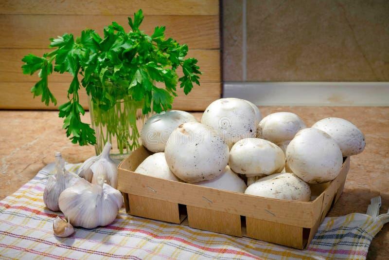 Champiñones fino cortados y cocinado con aceite, ajo y parsle foto de archivo libre de regalías