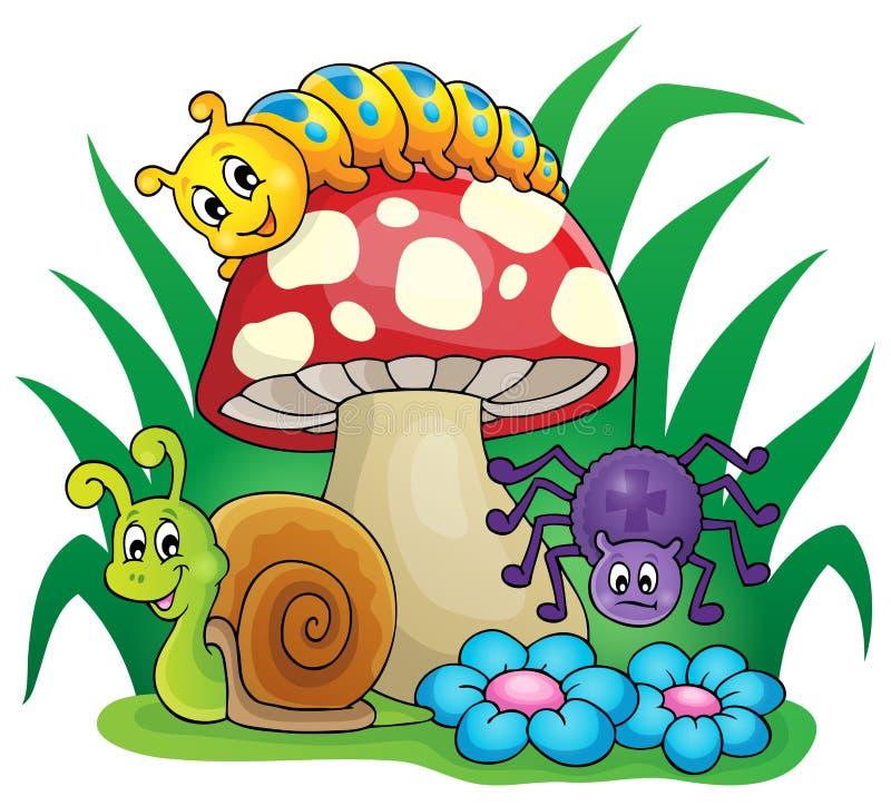 Champignon avec de petits animaux illustration de vecteur