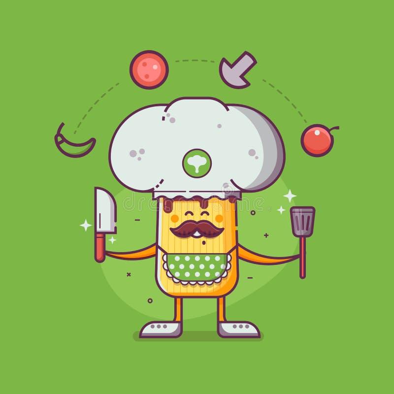 Champignon-Charakter mit Kocher-Hut lizenzfreie abbildung