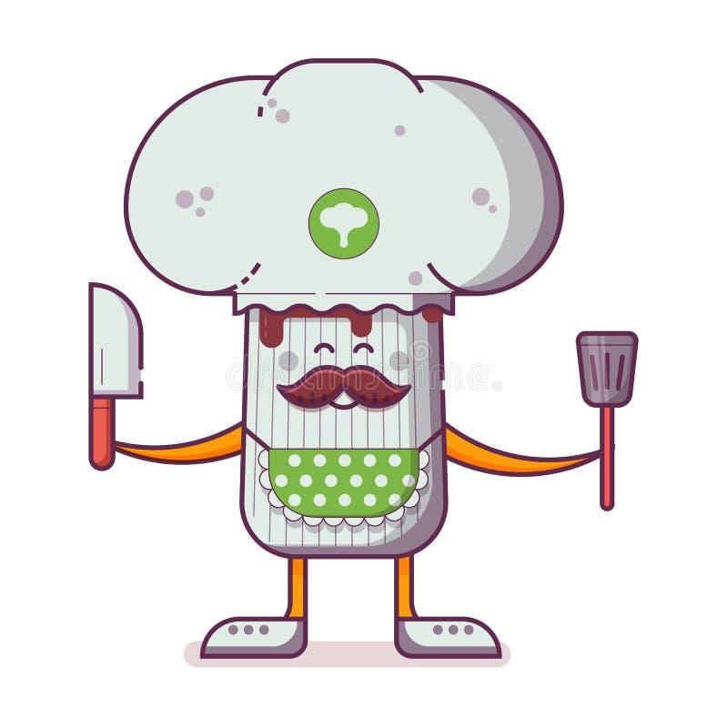 Champignon-Charakter mit Kocher-Hut vektor abbildung