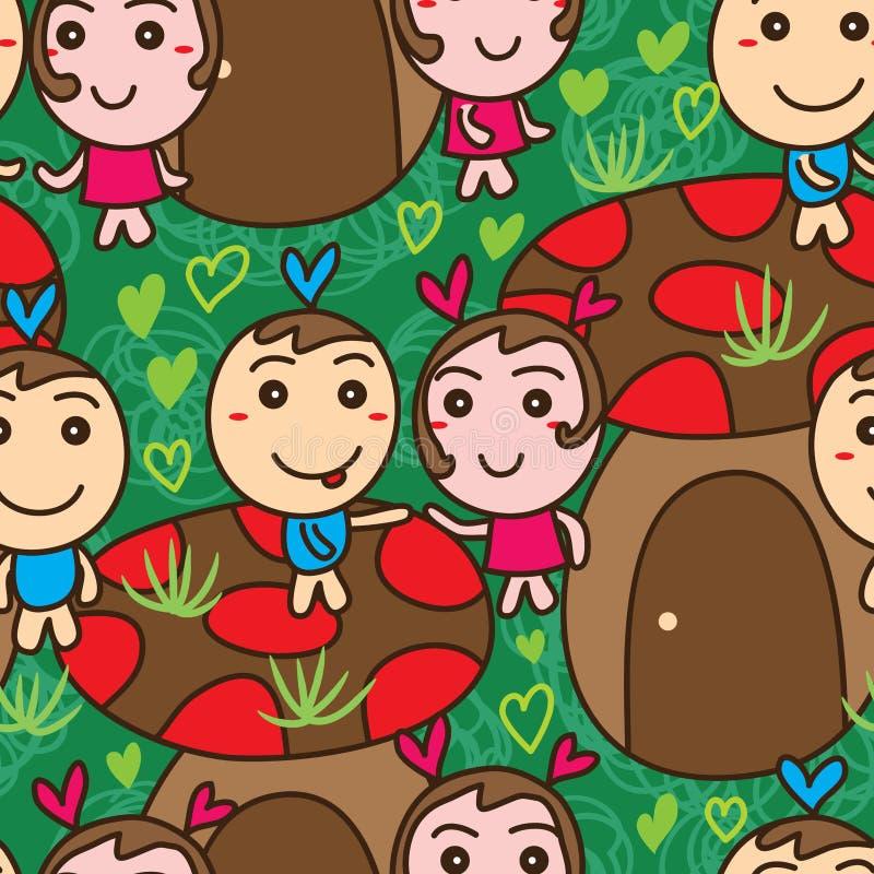 Champignon de mascotte d'amour dessinant le modèle sans couture illustration libre de droits