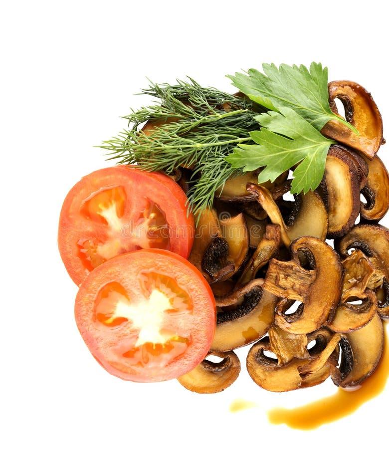 Champignon de paris frit de champignons sur les isolats blancs d'un fond photographie stock libre de droits