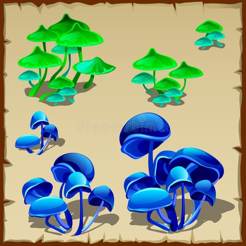 Champignon fictif vert et bleu illustration de vecteur