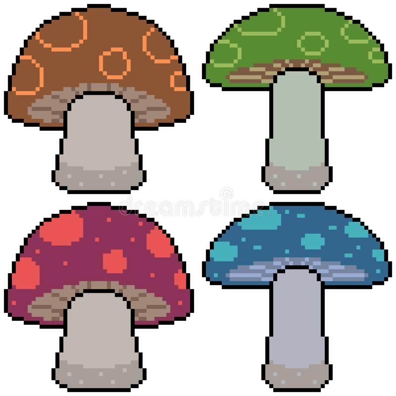 Champignon figé d'art de pixel de vecteur illustration stock