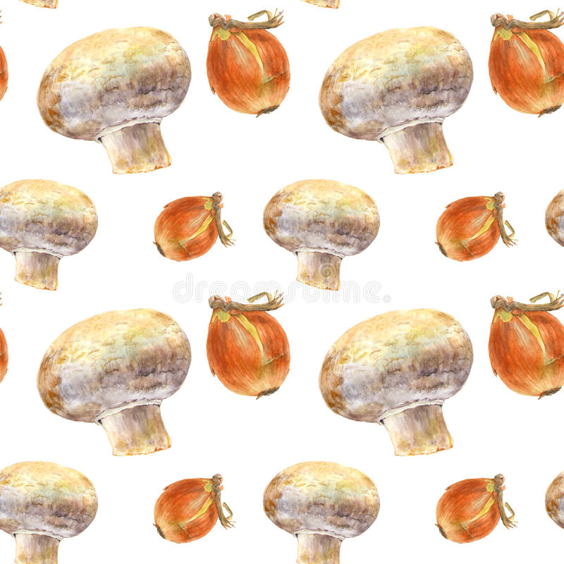 Champignon and onion on white background. Seamless watercolor pattern. Champignon and onion on white background. Watercolor hand made. Seamless colorful pattern vector illustration