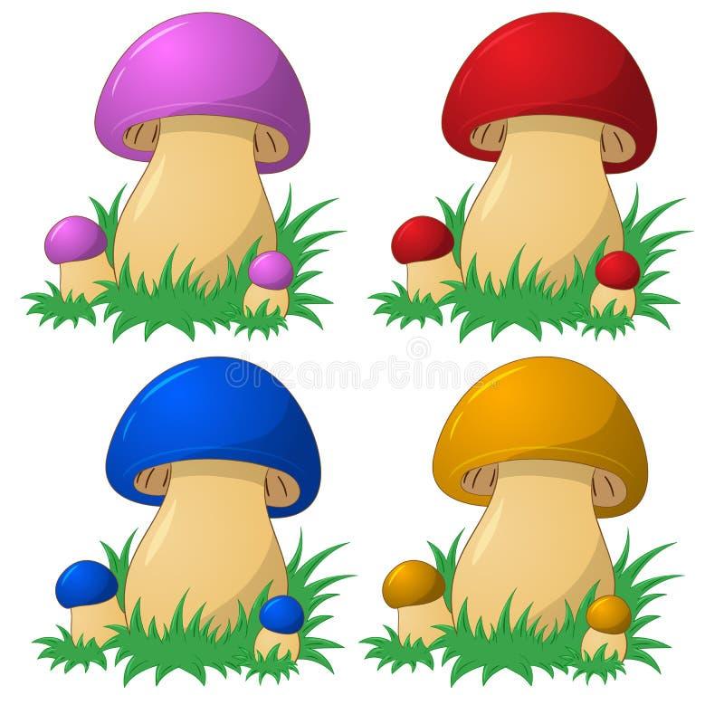 Champignons colorés bons illustration stock