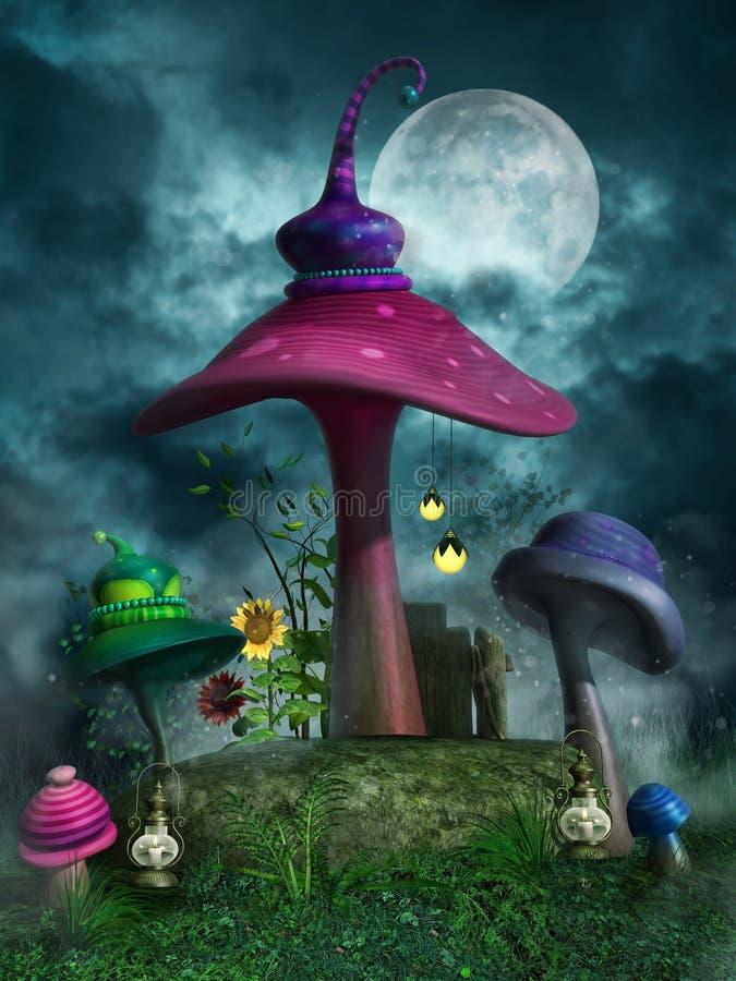 Champignons colorés la nuit illustration de vecteur
