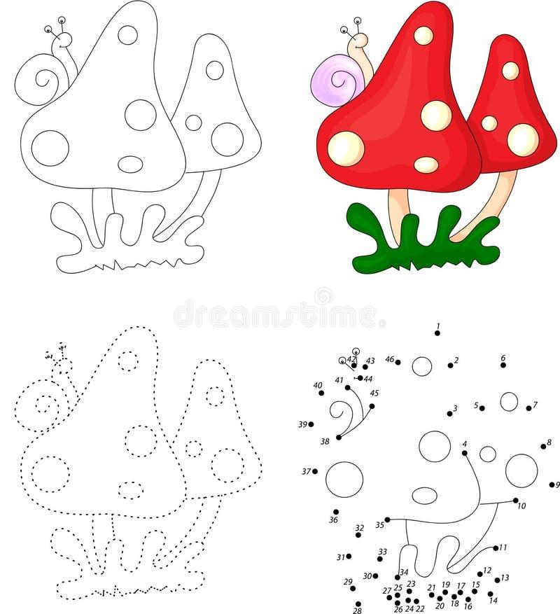 Champignons de bande dessinée avec l'escargot Point pour pointiller le jeu pour des enfants illustration libre de droits