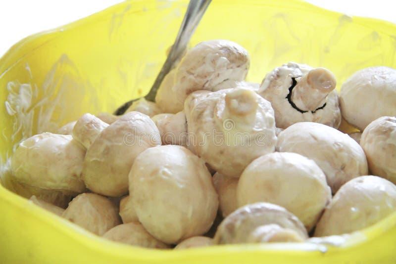 Champignons de champignon de paris en marinade prête pour la cuisson image stock