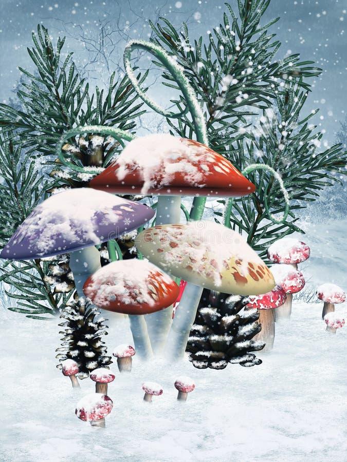 Champignons de couche d'hiver illustration de vecteur