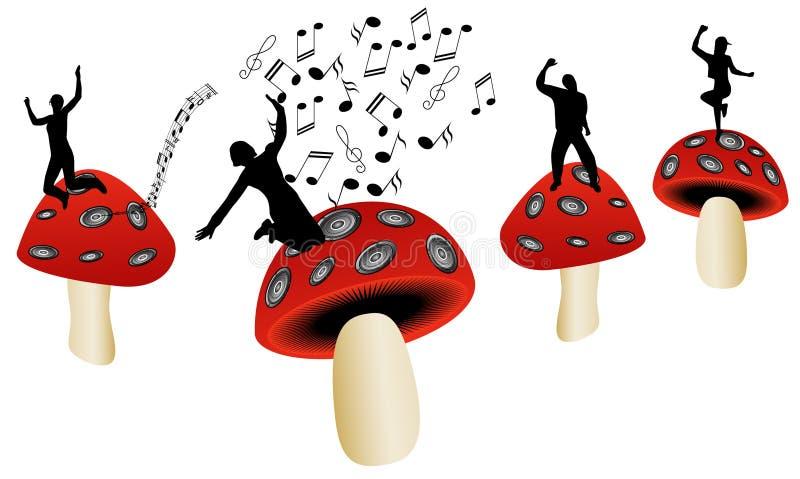 Champignons de couche et musique illustration stock