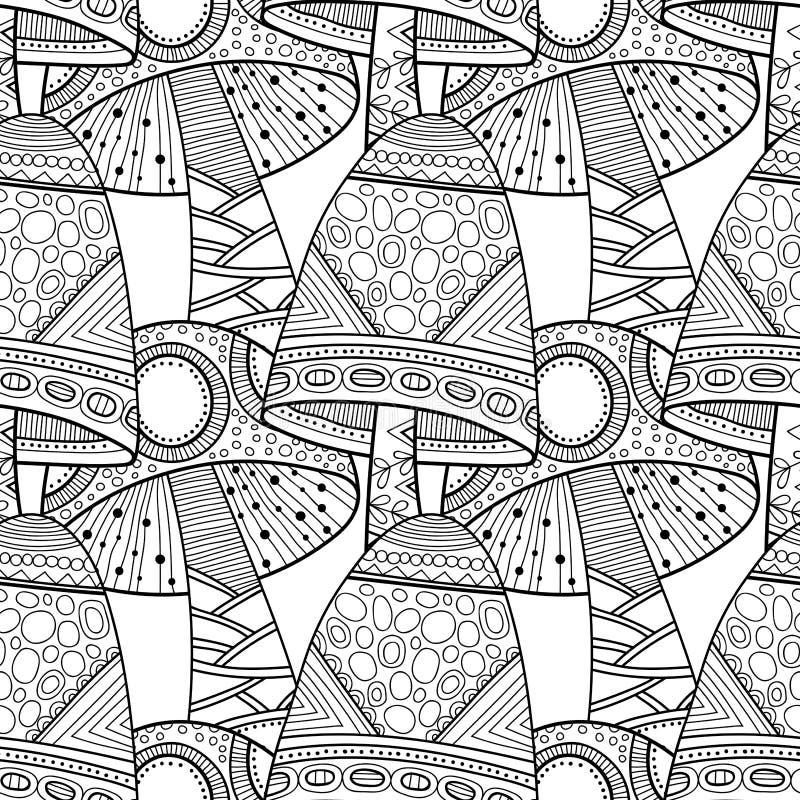 Champignons de couche Illustration noire et blanche, modèle sans couture pour livre de coloriage, pages illustration libre de droits