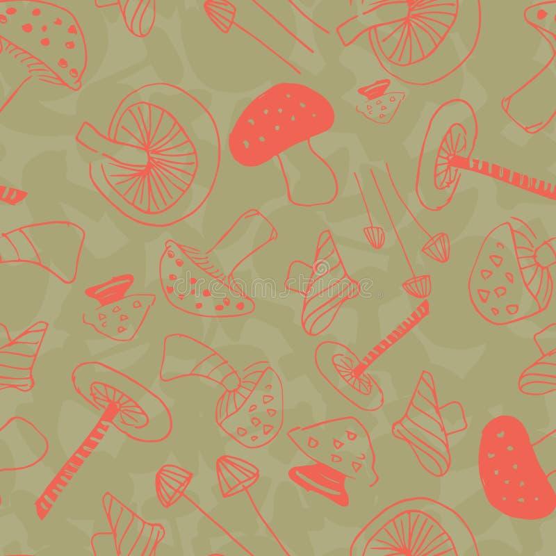 Champignons lin?aires oranges et verts illustration libre de droits