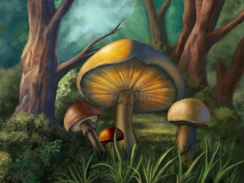 Champignons rougeoyants illustration libre de droits