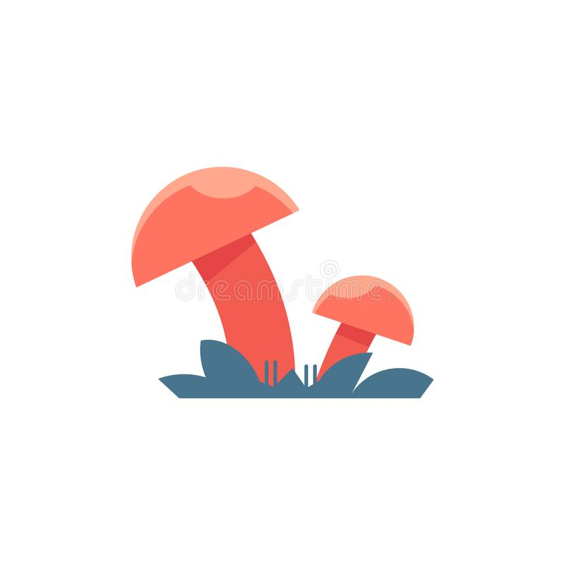 Champignons rouges sur l'herbe - symbole de champignon de tige et de chapeau s'élevant dans la forêt illustration stock