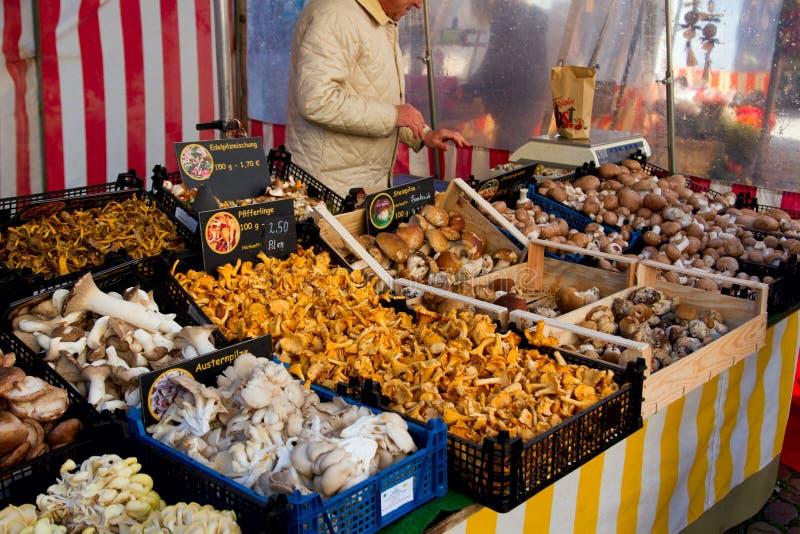 Champignons sur un marché du ` s d'agriculteur image stock