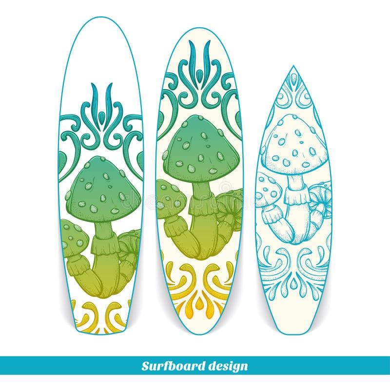 Champinjon en för surfingbrädadesignabstrakt begrepp vektor illustrationer