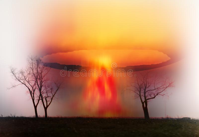 Champinjon för atom- explosion på planetjord royaltyfri bild