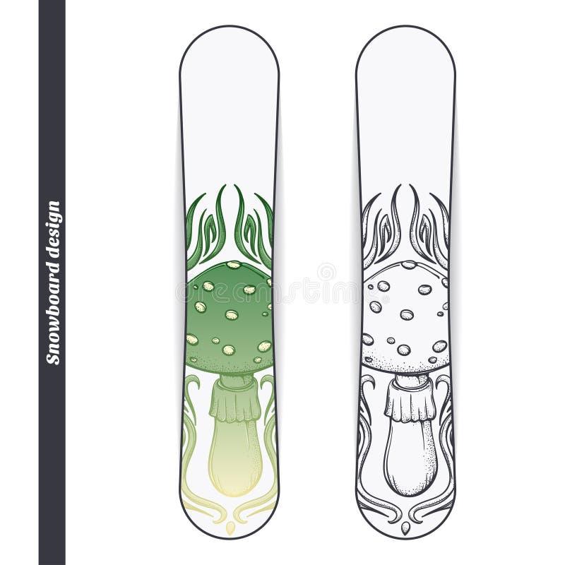 Champinjon för Snowboarddesignabstrakt begrepp royaltyfri illustrationer