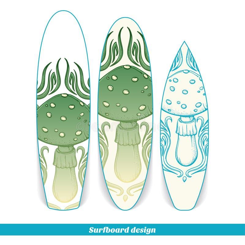 Champinjon för surfingbrädadesignabstrakt begrepp royaltyfri illustrationer
