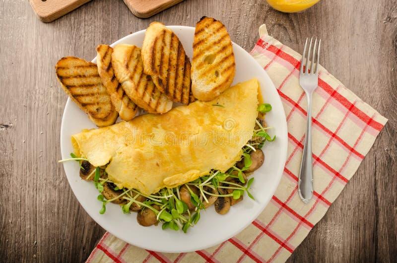 Champinjon och Microgreen omelett fotografering för bildbyråer