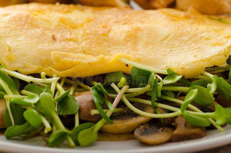 Champinjon och Microgreen omelett arkivfoto