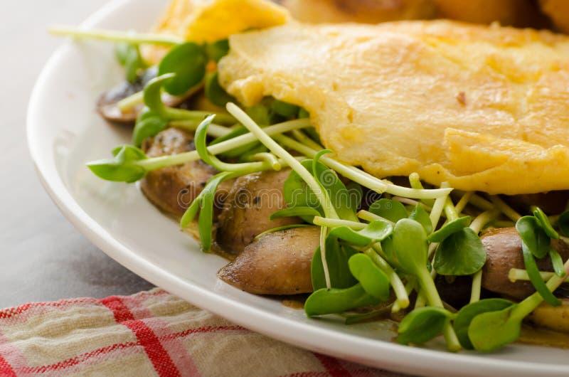 Champinjon och Microgreen omelett royaltyfri fotografi